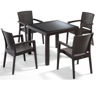 Defence dining table 90x90 (5pcs/set - with or without glass)